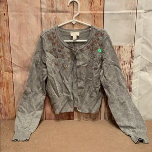 NWT 1989 Place cropped sequined cardigan sweater